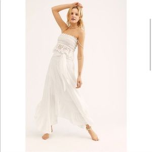 $198 Free People TESSA Eyelet Skirt Set WHITE M
